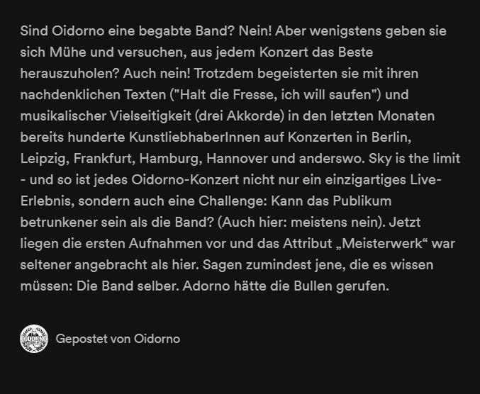 Oidornos Band-Biografie auf Streaming-Portalen: einfach sympathisch (Screenshot Spotify)